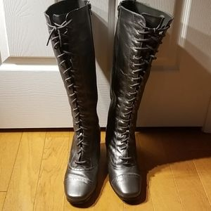 AJ Valenci wide calf leather boots